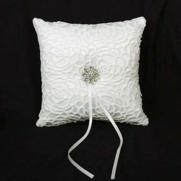 Ivory Satin Diamante Flower Wedding Ring Pillow 15cmx15cm