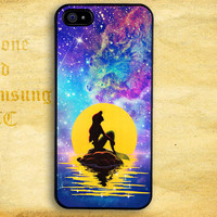 Little Mermaid With Nebula Galaxyan Design for iPhone  4 4s 5 5s 5c iPod 4 5 Touch and Samsung Galaxy s3 s4 s5 Case