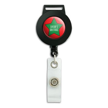 Season's Greetings Star Green Red Christmas Retractable Badge Card ID Holder