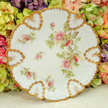 Beautiful Antique Limoges Porcelain Cabinet Plate ~ Pink Floral Gold Embossed