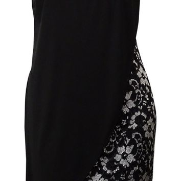 Betsy & Adam Women's Embellished Draped Jersey Lace Dress