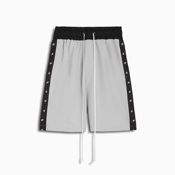 track team gym short / silver grey + black