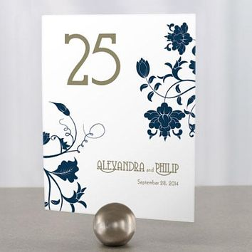 Floral Orchestra Table Number Numbers 61-72 Pastel Blue (Pack of 12)