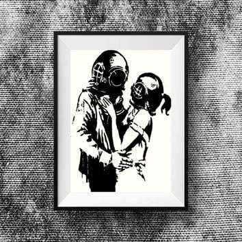 Banksy print - Bnaksy Art - Banksy Think Tank Lovers - Banksy  street art print home decor stencil art print