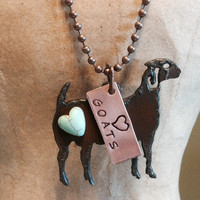 LOVE HEART GOATS Show Necklace made of Rustic Rusty Rusted Recycled Metal