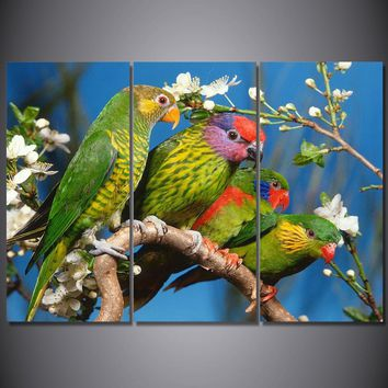 3 Piece Canvas Art Green Parrots On Tree Wall Picture Panel Print for Living Room