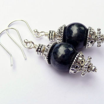 Dark Blue Dumortierite & Silver Gemstone Drop Earrings - Midnight Blue Gemstone Earrings