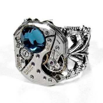 Steampunk Ring Jewelry by edmdesigns  Vintage BULOVA by edmdesigns