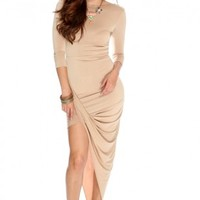 Beige Quarter Sleeve Draped Sexy Party Dress