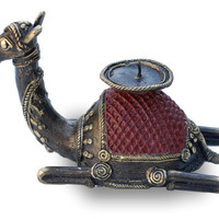 Primitive Home Decor - Handmade Metal Candle Stand - Rustic Camel Figurine Sculpture in Bronze Metal From India