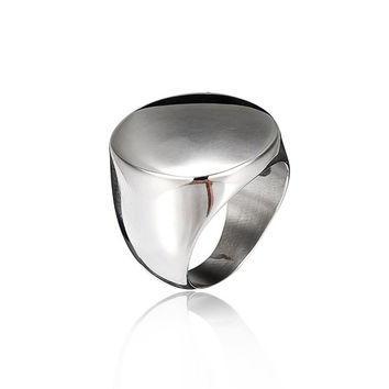 Silver Titanium Steel Round Polished Ring For Men