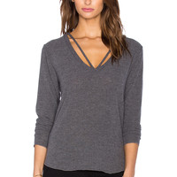 LNA Strappy Sweater in Charcoal
