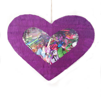 Heart piñata with a clear window shows all the toys or candy inside! Bachelorette heart pinata