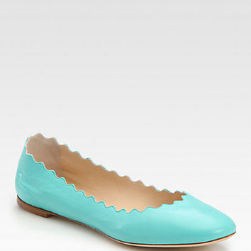 Scalloped Leather Ballet Flats - Zoom - Saks Fifth Avenue Mobile