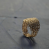 Gold Leaf Ring , Wire Crochet Jewelry, Every Day Jewelry, Gold Ring