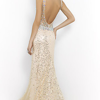 Dresses, Formal, Prom Dresses, Evening Wear: Floor Length V-neck Blush Prom Dress