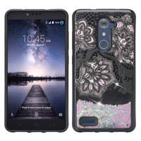 ZTE ZMAX Pro, Grand X Max 2, Blade X Max, ZTE Carry, Imperial Max, Max Duo LTE, Luxury Bling Liquid Glitter Case, Sparkle Quicksand Case - Pink Flowers White
