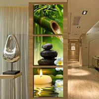 3Pcs/Set Frameless Spa Stone Bamboo Candle Paintings Wall Art Home Decor Gift