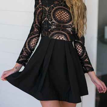 Solid Color High Neck Crochet Lace Panel Skater Dress