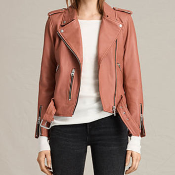ALLSAINTS US: Womens Balfern Leather Biker Jacket (Burnt Coral)