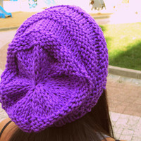 Purple slouchy beanie,violet woman hat,puce handmade hat,woman accessories,knitting hat