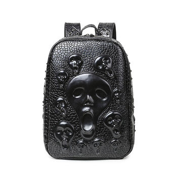 New rock backpack skull PU leather rivet punk Institute wind personality leisure backpack  gothic style Dark messenger knapsack