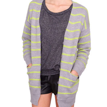 Bright Line Cardigan - Gray Stripe