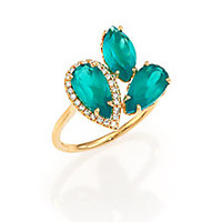 KALAN by Suzanne Kalan - Soleil Green Onyx, Diamond & 14K Yellow Gold Cluster Ring - Saks Fifth Avenue Mobile