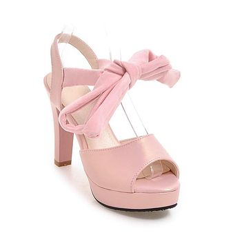 Cross Straps Open Toe Chunky Heels Platform Sandals for Women 7743