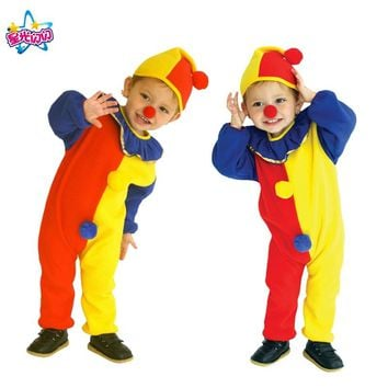 Free shipping  Costumes Kids Children Circus Clown Costume Naughty Harlequin Fancy Fantasia Infantil Cosplay Clothing for Boys