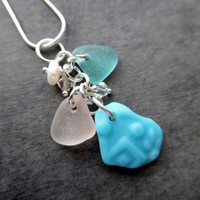 Pink Sea Glass Necklace Cluster Jewelry Aqua Blue Pendant Keshi Pearls Sterling