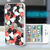unique iphone case,glitter i phone 4 4s case,cool cute iphone4 iphone4s case,stylish  plastic rubber cases, indian yellow red floral , ZB11