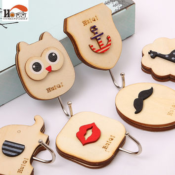 CUSHAWFAMILY 1 pcs Cute animal Owl wooden hook cabinet door free nail Multi-functional Clothing Hanger Sundry Hanging Hooks