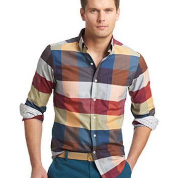 Izod Shirt, Long-Sleeve Patchwork Plaid Oxford Shirt - Casual Button-Down Shirts - Men - Macy's