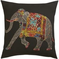 """Embroidered Elephant 18"""" Pillow With Feather-down Insert"""