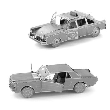 Metal Earth 3D Laser Models 1965 Ford Mustang AND NYC Checker Cab Car SET OF 2