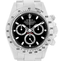 Rolex Cosmograph Daytona Black Dial Steel Mens Watch 116520 Box Papers