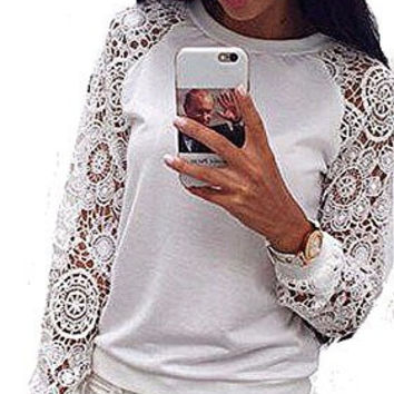 Womens Light Weight White Sweatshirt/ Sweater with Lace Sleeves ( please read Sizing )