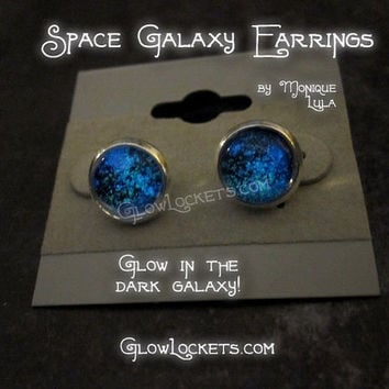 Outer Space Galaxy Glow Stud Earrings Nebula Constellation Astronomy Astrology