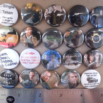 20pc 1 inch SUPERNATURAL Pinback Buttons badges flair tv show sam dean bobby castiel family business angel trenchcoat