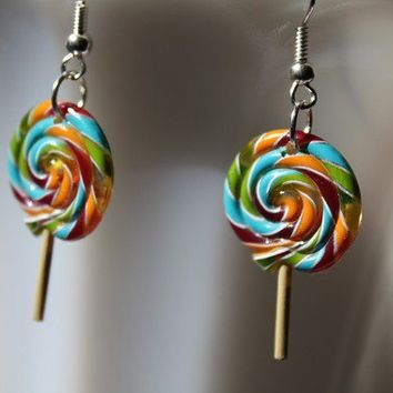 Sweet Lollipop Sucker Earrings by PenelopesPorch on Etsy