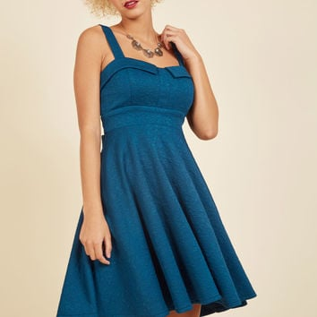 Pull Up a Cherry A-Line Dress in Embossed Cerulean | Mod Retro Vintage Dresses | ModCloth.com