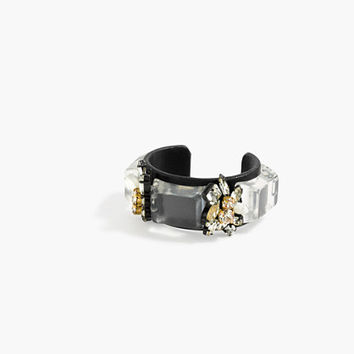 J.Crew Womens Crystal And Leather Cuff Bracelet