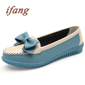 ifang 2017 Genuine Leather Bowtie Women Ballet Flats Summer Casual Women's Shoes Woman Loafers Leather Retro Nurse Mom Shoes