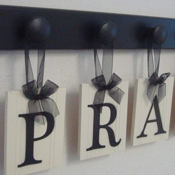 Personalized Wall Art PRAY includes 4 Wooden Pegs and Letters Painted Black. Custom Hanging signs
