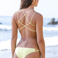 The Girl and The Water - Frankie's Bikinis - Kaia Bikini Bottom Yellow - $79