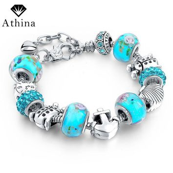 Athina Ocean Style Silver Color Charm Bracelets & Bangles Blue Crystal/Glass Beads Bracelets For Women Flower Jewelry Pulsera