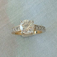 Rhinestone Engagement Ring Size 5.5 Gold Plated Brilliant Cut Vintage Jewelry