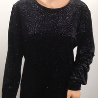 Black Sequin Women's Shirt Blouse - Briggs New York- Size Medium  - Polyester and Spandex - Free US Shipping