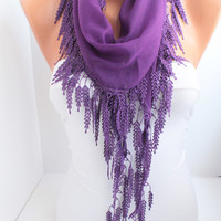 Purple Cotton Scarf Shawl Belt -Headband with purple Lace Edge women neck  and hair accessories